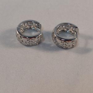 Jewelry - 18K White Gold Carved Hoop Huggie Earrings GF